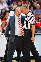 Dec. 23, 2009. Las Vegas, NV: Nebraska's Head Coach Doc Sadler lays into the ref at the Orleans Arena.