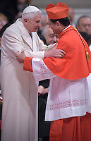 Cardinal Charles Maung Bo. Pope Benedict XVI,,during a consistory for the creation of new Cardinals at St. Peter's Basilica in Vatican.February 14, 2015