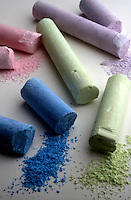 COLORED CHALK<br /> Soft Compact Calcite<br /> Calcium Carbonate (CaCO3) with varying amounts of silica, quartz, feldspar or other mineral impurities