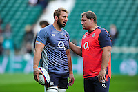 England Rugby Scrum Coach Neal Hatley has a word with Chris Robshaw during the pre-match warm-up. Old Mutual Wealth Series International match between England and Fiji on November 19, 2016 at Twickenham Stadium in London, England. Photo by: Patrick Khachfe / Onside Images