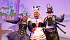 Jack and the Beanstalk <br /> by Susie McKenna with music by Steven Edis <br /> at the Hackney Empire, London, Great Britain <br /> press photocall <br /> 25th November 2015  <br /> <br /> Clive Rowe as Dame Daisy Trott<br /> <br /> <br /> Jocelyn Jee Esien as Stomach Bug<br /> <br /> Tony Timberlake  as Nasty Bug<br /> <br /> <br /> <br /> <br /> Photograph by Elliott Franks <br /> Image licensed to Elliott Franks Photography Services