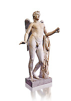 Statue of Eros known as The Genie of Borghese - a  Roman copy of a 4th century BC Greek original from Rome, Monte Cavallo. The statue belonged to Domenico Biondo, employee of Pope Paul V Borghese. The statue joined in 1608 in the collection of Scipio Borghese. Wings, arms and legs of Eros, formerly called Genie Borghese, are modern. In the 18th century it was much admired, especially in France, as one of the seven most important parts of the collection Borghese. The Borghese Collection Inv No. MR 207 or Ma 435, Louvre Museum, Paris.