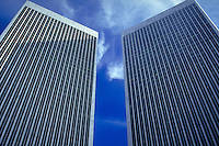 Century City Towers, Los Angeles, CA, Corporate Skyscrapers, Looking up, Steel, High Rise, Corporate, Office Building, Buildings, Architectural, Structure, Architecture, Architectural Feature,
