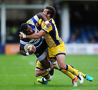 Semesa Rokoduguni of Bath Rugby is double-tackled. Aviva Premiership match, between Bath Rugby and Worcester Warriors on September 17, 2016 at the Recreation Ground in Bath, England. Photo by: Patrick Khachfe / Onside Images