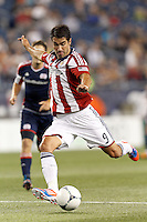 Chivas USA substitute forward Juan Pablo Angel (9) takes a shot. In a Major League Soccer (MLS) match, the New England Revolution tied Chivas USA, 3-3, at Gillette Stadium on August 29, 2012.