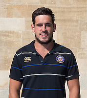 Performance Analyst Matthew Watkins poses for a portrait at a Bath Rugby photocall. Bath Rugby Media Day on September 8, 2015 at Farleigh House in Bath, England. Photo by: Rogan Thomson for Onside Images