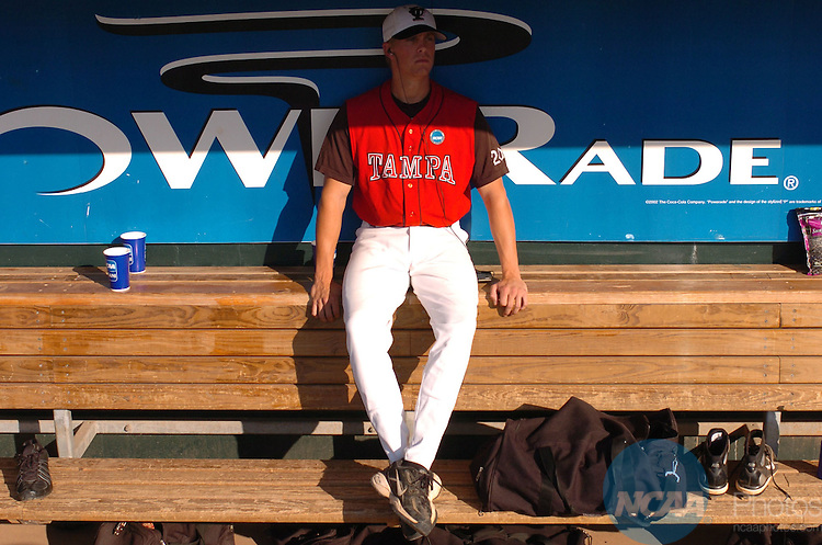 03 June 2006:  Pitcher Ross Jackson (20) of The University of Tampa takes time to think before the game against CSU Chico -  Chico State during the Division II Men's Baseball Championship held at Riverwalk Stadium, Montgomery, Alabama. The Chico State baseball team was one pitch away from winning the national championship, but The University of Tampa put together three two-out base hits in the ninth inning to tie the game. Tampa went on to beat Chico State 3-2 in the tenth inning. Larry French/NCAA Photos