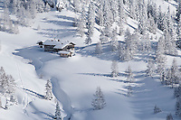 Schneibsteinhaus near Torrener Joch pass (1733m) in winter viewed from Jenner, Berchtesgaden national park, Germany