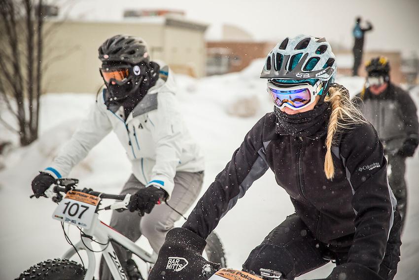 the 906 Polar Roll winter fat bike race in Marquette, Michigan.
