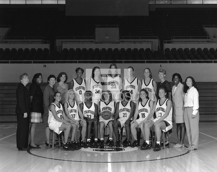 1995: Womens Basketball Team. Standing (left to right): Trainer Kris Mack, Manager Erica Sanders, Co-Head Coach Marianne Stanley, Asst. Coach Ann Enthovan, Olympia Scott, Naomi Mulitauaopele, Chandra Benton, Heather Owen, Kate Starbird, Interim Head Coach Amy Tucker, Asst. Coach Angela Taylor, Manager Angie Nakano. Sitting (left to right): Jamila Wideman, Tara Harrington, Bobbie Kelsey, Amy Wustefeld, Charmin Smith, Regan Freuen, Vanessa Nygaard.