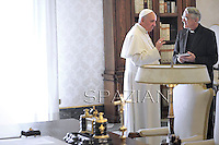 Father Federico Lombardi director of the Holy See Press Office.Pope Francis receives Uruguay's President Jose Mujica  at the end of a private audience in his private library at the Vatican. 1 June 2013