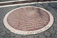 A mosaic embedded into the surface of Passarelle Plaza in Flushing Meadows park in Queens in New York  commemorates the Time Capsule that was lowered during the World's Fair held in the park in 1964-65 seen on Sunday, March 18, 2012. The Time Capsule is scheduled to be opened in the year 6839.  (© Richard B. Levine)