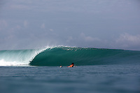 Surfing in Sumatra, Indonesia.
