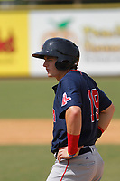 Salem Red Sox center fielder Tate Matheny (19) on base during a game against the Down East Wood Ducks  at Grainger Stadium on April 16, 2017 in Kinston, North Carolina. Salem defeated Down East 9-2. (Robert Gurganus/Four Seam Images)