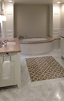 Chatham 1, a stone water jet mosaic, shown in Lagos Gold and Calacatta Tia.<br /> -photo courtesy of Da Vinci Tile