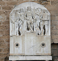 Memorial to Frederick II, Palazzo dei Normanni (Palace of the Normans), Royal Palace of Palermo, 12th century, Palermo, Sicily, Italy. Picture by Manuel Cohen