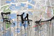 A paint splattered map of the Shinjuku district of Tokyo, Japan.