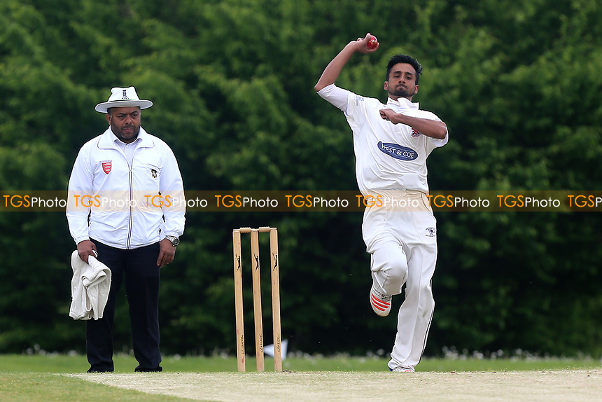M Khan in bowling action for Hornchurch during Shenfield CC vs Hornchurch CC, Shepherd Neame Essex League Cricket at Chelmsford Road on 13th May 2017