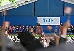 05/19/2013 - Medford/Somerville, MA - Stephen Bosworth, Dean of Tufts University's Fletcher School of Law and Diplomacy, who is retiring this year, is cheered on by his school's students while conferring their degrees during Phase I of Tufts University's 157th Commencement on Sunday, May 19, 2013. (Emily Zilm for Tufts University)