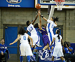 UK guard Azia Bishop and forward Samarie Walker block a shot by LSU during the second half of the women's basketball game vs. LSU Memorial Coliseum , in Lexington, Ky., on Sunday, January 27, 2013. Photo by Genevieve Adams  | Staff.