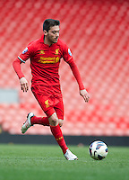 LIVERPOOL, ENGLAND - Easter Monday, April 1, 2013: Liverpool's Jose Ignacio 'Nacho' Huertas Ortiz in action against Tottenham Hotspur during the Under 21 FA Premier League match at Anfield. (Pic by David Rawcliffe/Propaganda)