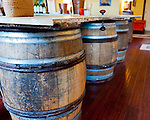 The tasting room bar at General's Ridge Vineyard and Winery is made of old wine barrels under original antique doors taken from the old manor house on the property.