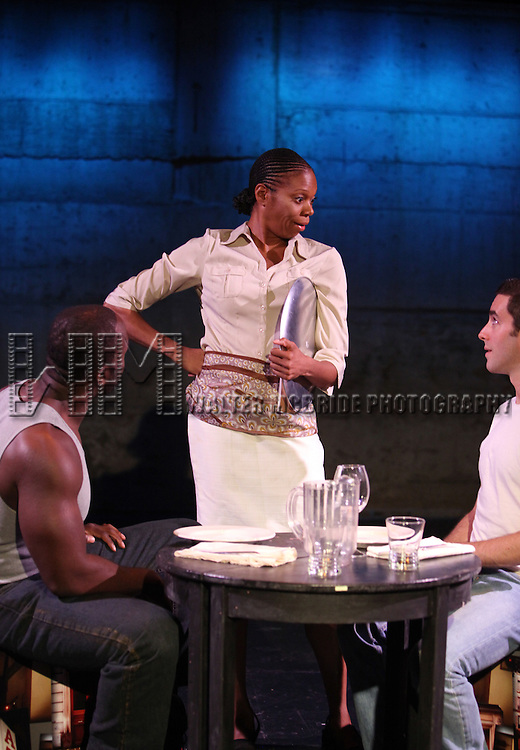 Patrick Byas, Stephanie Pope Caffey & Dan Heching.starring in Dan Heching Presents 'Sammy Gets Mugged'.at the Living Theatre in New York City.