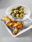 Green olives and cheese straws