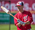9 March 2014: Washington Nationals utility infielder Jamey Carroll awaits his turn in the batting cage prior to a Spring Training game against the St. Louis Cardinals at Space Coast Stadium in Viera, Florida. The Nationals defeated the Cardinals 11-1 in Grapefruit League play. Mandatory Credit: Ed Wolfstein Photo *** RAW (NEF) Image File Available ***