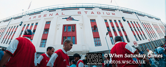 Arsenal, Highbury c1997. Fans walk past the East Stand, Highbury. (Exact date tbc). Photo by Tony Davis