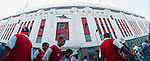 Arsenal, Highbury c1997. Fans walk past the East Stand, Highbury. (Exact date tbc). Photo by Tony Davis