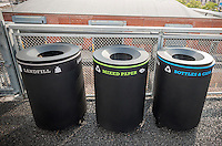 Labeled recycling bins are seen on the newly opened third phase of the high Line Park in New York on Saturday, September 20, 2014. (© Richard B. Levine)