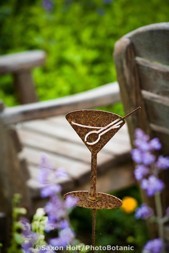 Martini glass whimsical art in Amy Stewart's garden