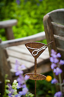 Martini glass whimsical art in Amy Stewart's garden