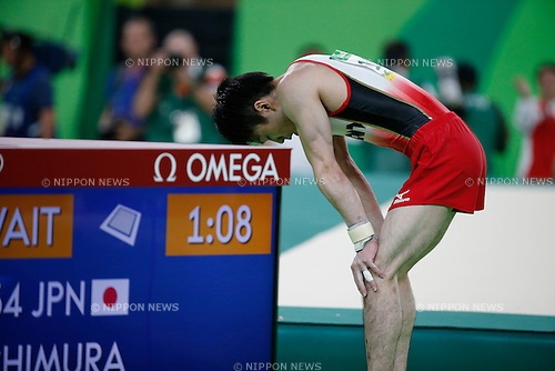Kohei Uchimura (JPN),<br /> AUGUST 8, 2016 - Artistic Gymnastics :<br /> Kohei Uchimura of Japan reacts after performing on the floor in the Men's Team Final at Rio Olympic Arena during the Rio 2016 Olympic Games in Rio de Janeiro, Brazil. (Photo by Yuzuru Sunada/AFLO)