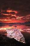 Jokulsarlon Lagoon reaches a depth of 100 meters and is located southeast of Vatnajokull Glacier, the largest glacier in Iceland. The lagoon is full of floating icebergs.