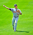 15 March 2009: Detroit Tigers' infielder Cale Iorg warms up prior to a Spring Training game against the Washington Nationals at Space Coast Stadium in Viera, Florida. The Tigers shut out the Nationals 3-0 in the Grapefruit League matchup. Mandatory Photo Credit: Ed Wolfstein Photo