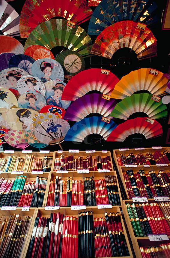 Souvenir shop display of chopsticks and fans,Tokyo, Japan