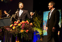 Matt Damon presents to Ben Affleck the Santa Barbara International Film Festival's Modern Master Award. 25-Jan-2013. Sponsor logo removed from this version.