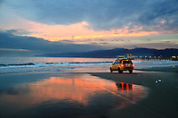 Santa Monica beach amid the sunset on Thursday, January 24, 2013.