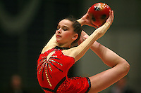 Monica Mincheva of Bulgaria holds scale with ball at Burgas Grand Prix Rhythmic Gymnastics on May 6, 2006.   (Photo by Tom Theobald)