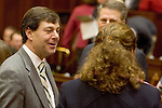 HARTFORD, CT- 07 JANUARY 2008 --010709JS13-Sen. Andrew W. Roraback, R-Goshen, talks with Rep. Elizabeth H. Esty, D-Cheshire, Wednesday during the opening day of the general assembly at the state Capitol in Hartford. <br /> Jim Shannon / Republican-American