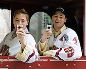 Cam Atkinson (BC - 13), Matt Price (BC - 25) - Boston College celebrated the men's hockey team's victory at the 2010 Frozen Four, their second national championship in three years.  The team traveled through the campus by trolley from Conte Forum to O'Neill Library where a rally was held on the plaza on Monday, April 12, 2010.