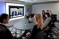 A tele conference at the W Hotel with one of the overseas offices powered by Cisco Systems.