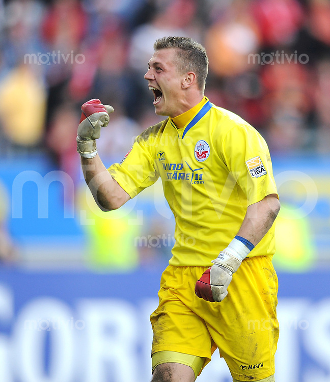 2. Fussball Bundesliga:  Saison   2009/2010  , 32.  Spieltag  Kaiserslautern - Hansa Rostock    23.04.2010 JUBEL Alexander Walke (Rostock)