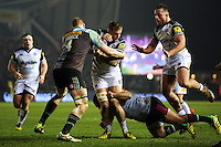 Dominic Day of Bath Rugby takes on the Harlequins defence. Aviva Premiership match, between Harlequins and Bath Rugby on March 11, 2016 at the Twickenham Stoop in London, England. Photo by: Patrick Khachfe / Onside Images