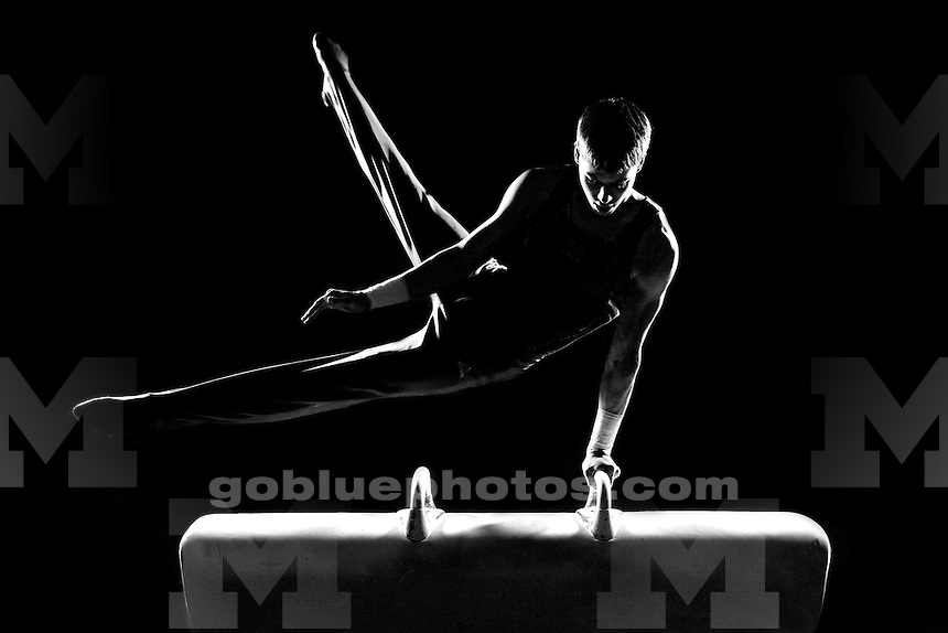 "A men's gymnast practices his pommel horse routine at the UM Coliseum on 5/29/09. This image was a test image for a coming series of Michigan athletic images entitled ""Essence of Sport."""