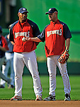 20 June 2008: Washington Nationals' Manager Manny Acta (right) chats with left fielder Wily Mo Pena (left) prior to the first game of their series against the Texas Rangers at Nationals Park in Washington, DC. The Nationals rallied in the eighth to tie, and then win 4-3 in the 14th inning of their inter-league matchup...Mandatory Photo Credit: Ed Wolfstein Photo