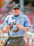 21 June 2015: MLB Umpire  Sean Barber works home plate during a game between the Pittsburgh Pirates and the Washington Nationals at Nationals Park in Washington, DC. The Nationals defeated the Pirates 9-2 to sweep their 3-game weekend series, and improve their record to 37-33. Mandatory Credit: Ed Wolfstein Photo *** RAW (NEF) Image File Available ***