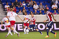 Alejandro Moreno (15) of CD Chivas USA. The New York Red Bulls and CD Chivas USA played to a 1-1 tie during a Major League Soccer (MLS) match at Red Bull Arena in Harrison, NJ, on May 23, 2012.